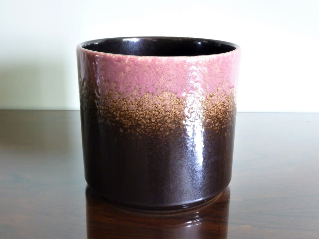 Vintage planter, brown and pink glaze