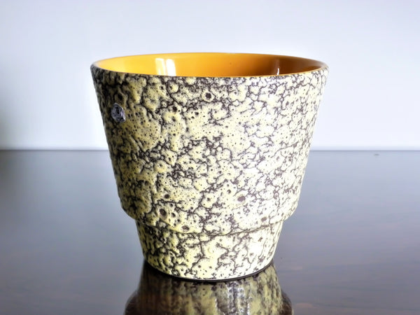 Uebelacker planter, yellow and black fat lava glaze