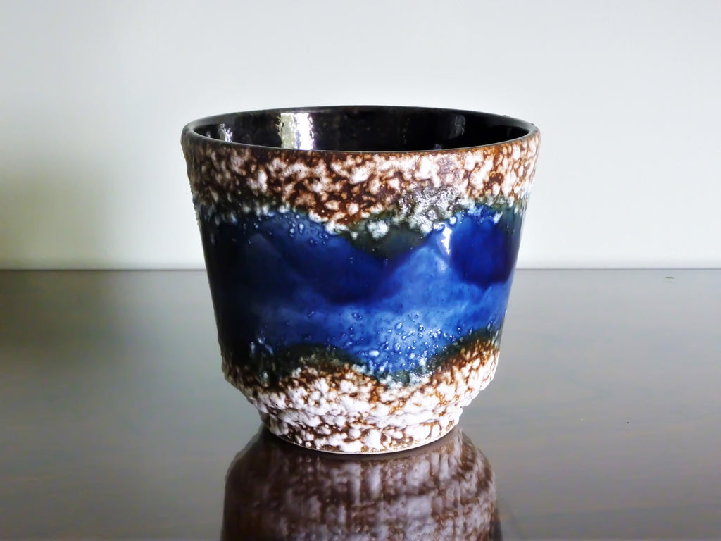 Uebelacker planter, blue, white and brown fat lava glaze