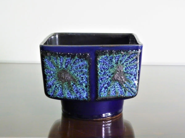 Strehla rectangular planter, blue and green glaze