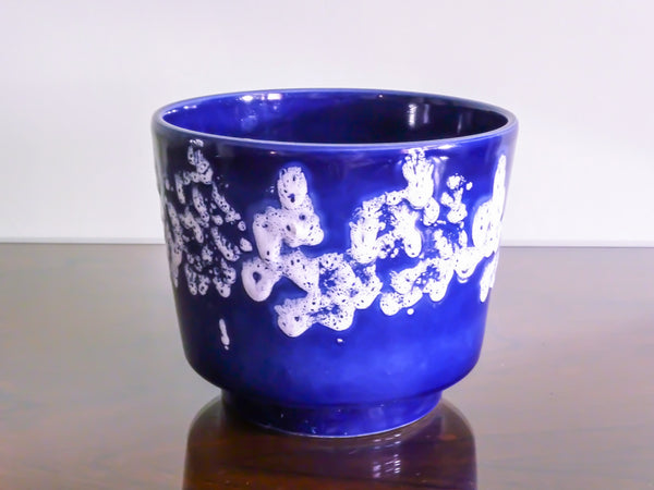 Vintage planter, blue and white bubble glaze