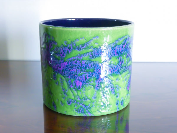 Marei planter, lime green and purple splatter decoration