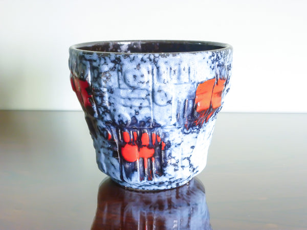 Uebelacker planter, blue, red and black geometric decoration