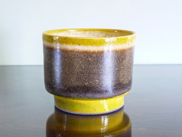 Freida indoor plant pot, lilac and brown on ochre
