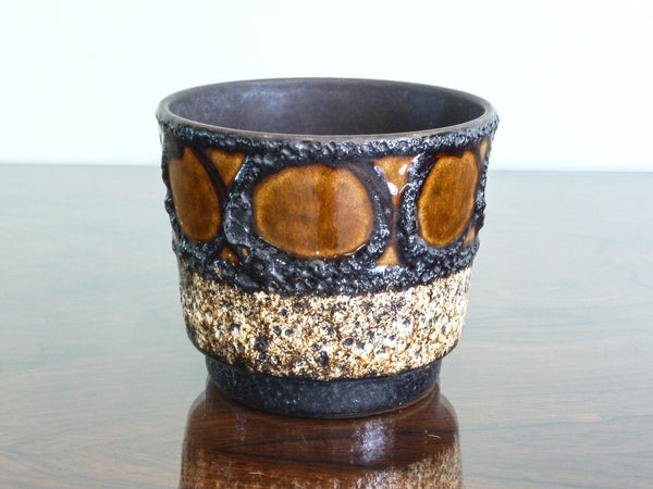 Vintage Scheurich indoor plant pot, black, brown & beige lava