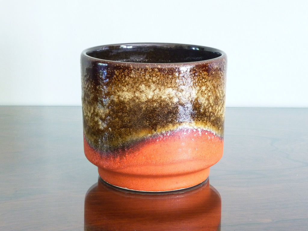 Vintage Dumler & Breiden planter, coral and brown glaze