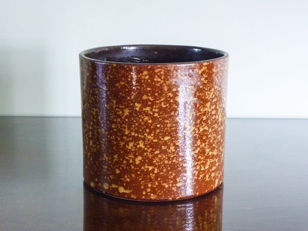 Vintage Marei indoor plant pot, brown and gold splatter decoration