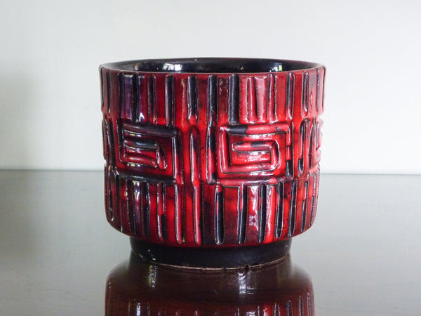Vintage Fratelli Fanciullacci indoor plant pot with red and black Greek key decoration