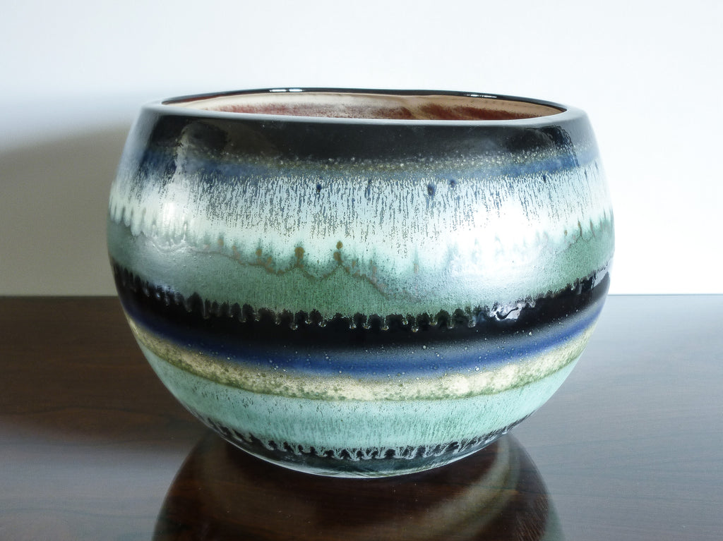 Petronilla large indoor plant pot, blue, black and green layered glaze