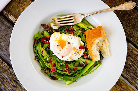 Asparagus Salad with Poached Eggs