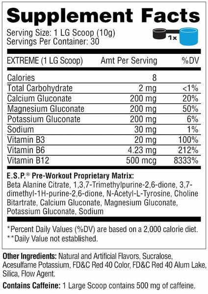 Metabolic Nutrition - E.S.P - Energy Pre-Workout - Watermelon - 30-90 Servings