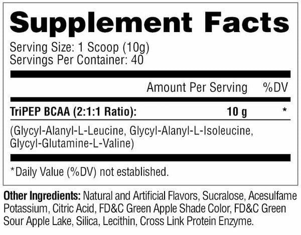 Metabolic Nutrition - TRI-PEP - Designer Tripeptide BCAA - Green Apple - 40 Servings
