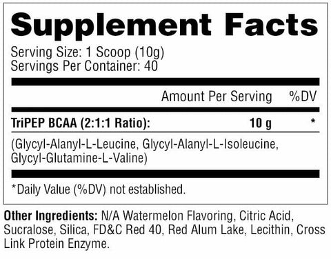 Metabolic Nutrition - TRI-PEP - Designer Tripeptide BCAA - Watermelon - 40 Servings