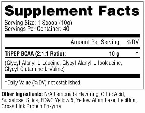 Metabolic Nutrition - TRI-PEP - Designer Tripeptide BCAA - Lemonade - 40 Servings