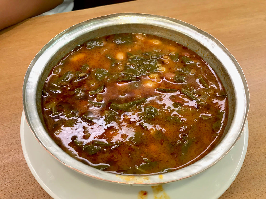 A bowl of turkey vegetable soup