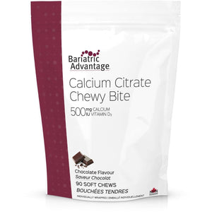 Bariatric Advantage - Calcium Citrate Chewy Bites - Chocolate - 500mg - 90 Count - Nashua Nutrition