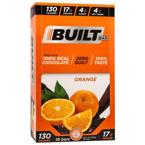 Built Bar - Protein & Fiber Bar - Orange - Energy Snack Bar - 18/Box or 1 Bar-Nashua Nutrition