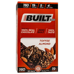 Built Bar - Protein & Fiber Bar - Toffee Almond - Energy Snack Bar - 18/Box or 1 Bar-Nashua Nutrition