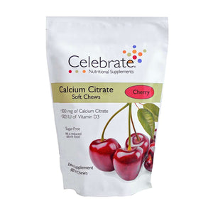 Celebrate Vitamins - Calcium Citrate - Soft Chews - Cherry - 500mg - 90 Chews-Nashua Nutrition