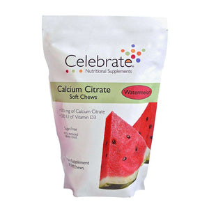 Celebrate Vitamins - Calcium Citrate - Soft Chews - Watermelon - 500mg - 90 Chews-Nashua Nutrition