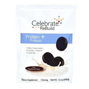 Celebrate Vitamins - ReBuild Protein Plus ProBiotic Powder - Cookies & Cream - 15 Packets/Box - Nashua Nutrition