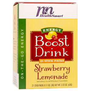 HealthSmart Energy Boost Drink Mix - Strawberry Lemonade - 21 Packets/Box-Nashua Nutrition