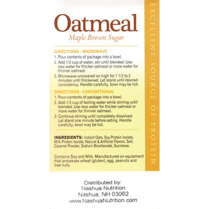 HealthSmart Oatmeal - Maple Brown Sugar - 7/Box - Nashua Nutrition