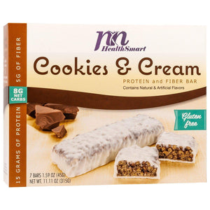 HealthSmart Protein & Fiber Divine Bar Cookies and Cream, 7 Bars-Nashua Nutrition