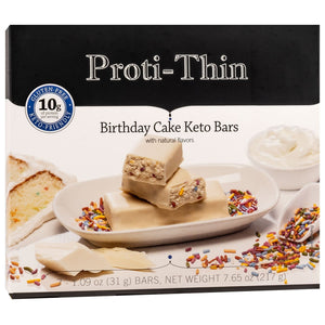 Proti-Thin Keto Bars - Birthday Cake, 7 Bars/Box - Nashua Nutrition