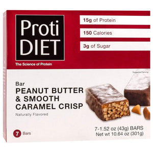 ProtiDiet Protein Bars - Peanut Butter and Smooth Caramel Crisp, 7 Bars/Box - Nashua Nutrition