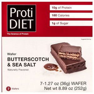 ProtiDiet Protein Wafer Bars - Butterscotch & Sea Salt, 7 Bars/Box - Nashua Nutrition