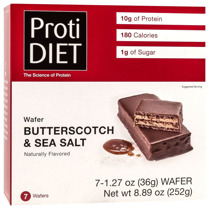ProtiDiet Protein Wafer Bars - Butterscotch & Sea Salt, 7 Bars/Box