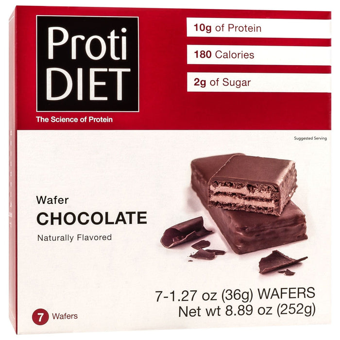 ProtiDiet Protein Wafer Bars - Chocolate, 7 Bars/Box