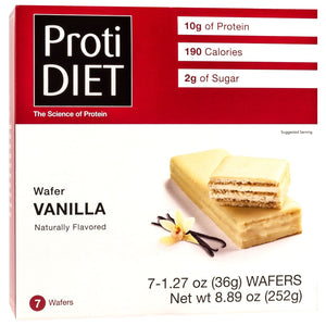 ProtiDiet Protein Wafer Bars - Vanilla, 7 Bars/Box - Nashua Nutrition