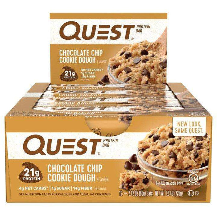 Quest Nutrition - QuestBar - Chocolate Chip Cookie Dough (1 Bar or 12/Box)