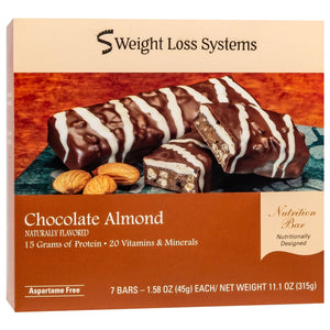 Weight Loss Systems Protein Bars - Chocolate Almond, 7 Bars/Box - Nashua Nutrition