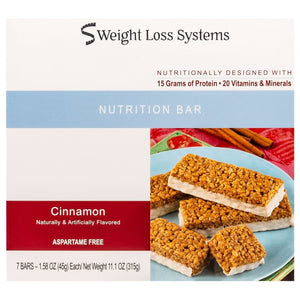 Weight Loss Systems Protein Bars - Cinnamon, 7 Bars/Box
