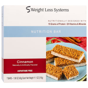 Weight Loss Systems Protein Bars - Cinnamon, 7 Bars/Box - Nashua Nutrition