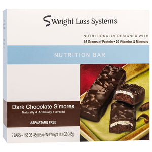 Weight Loss Systems Protein Bars - Dark Chocolate S'Mores, 7 Bars/Box - Nashua Nutrition
