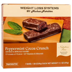 Weight Loss Systems Protein Bars - Peppermint Cocoa Crunch, 7 Bars/Box - Nashua Nutrition