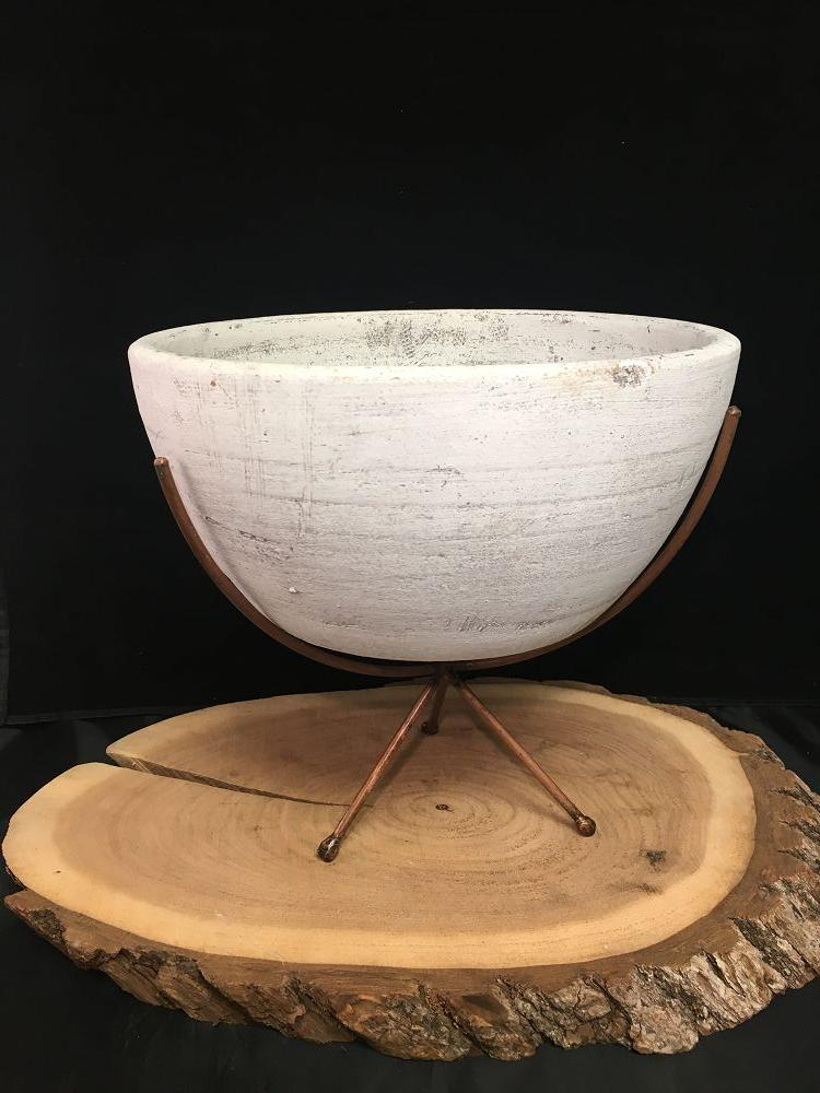 White Clay Bowl on Prongs