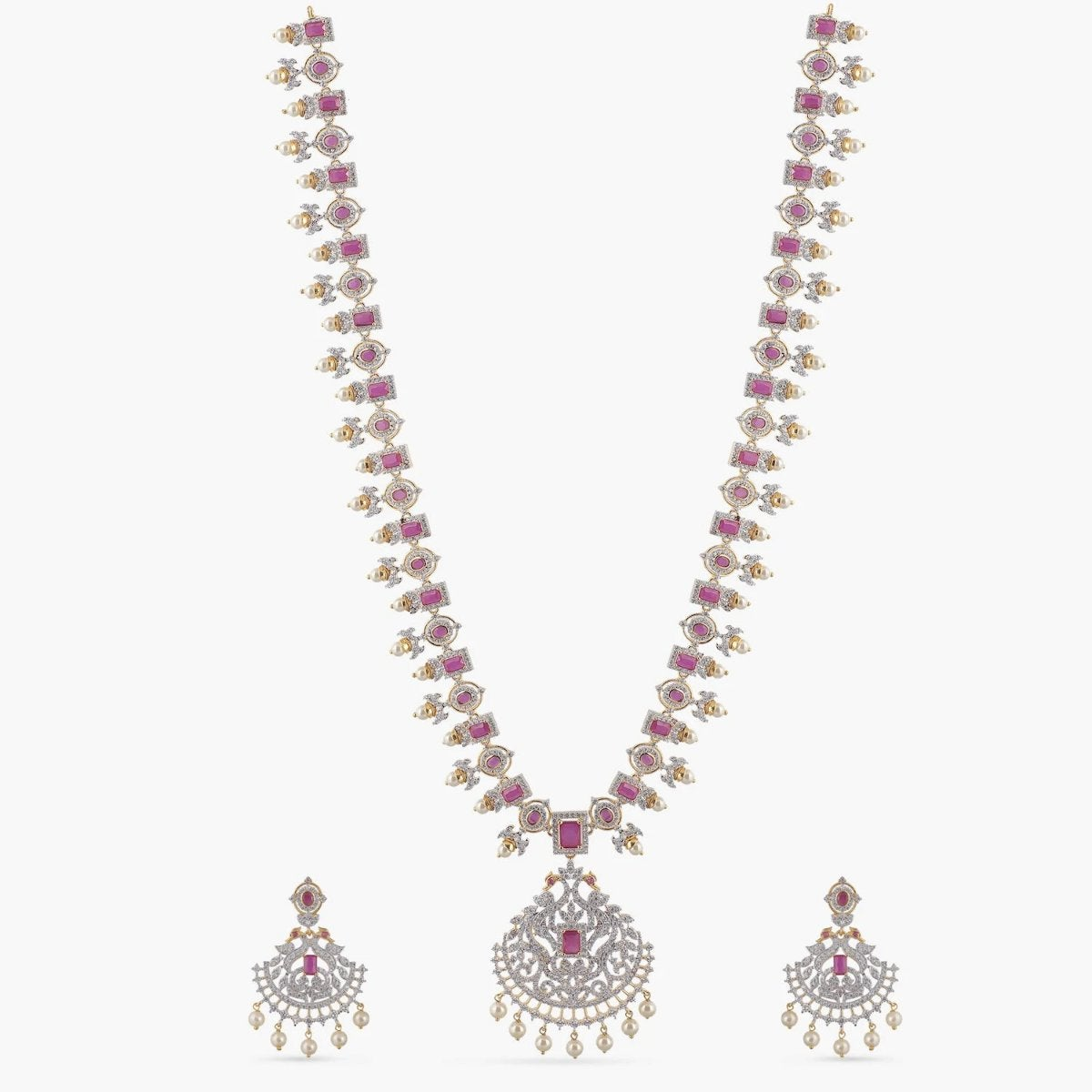 Ushna Nakshatra CZ Long Necklace Set