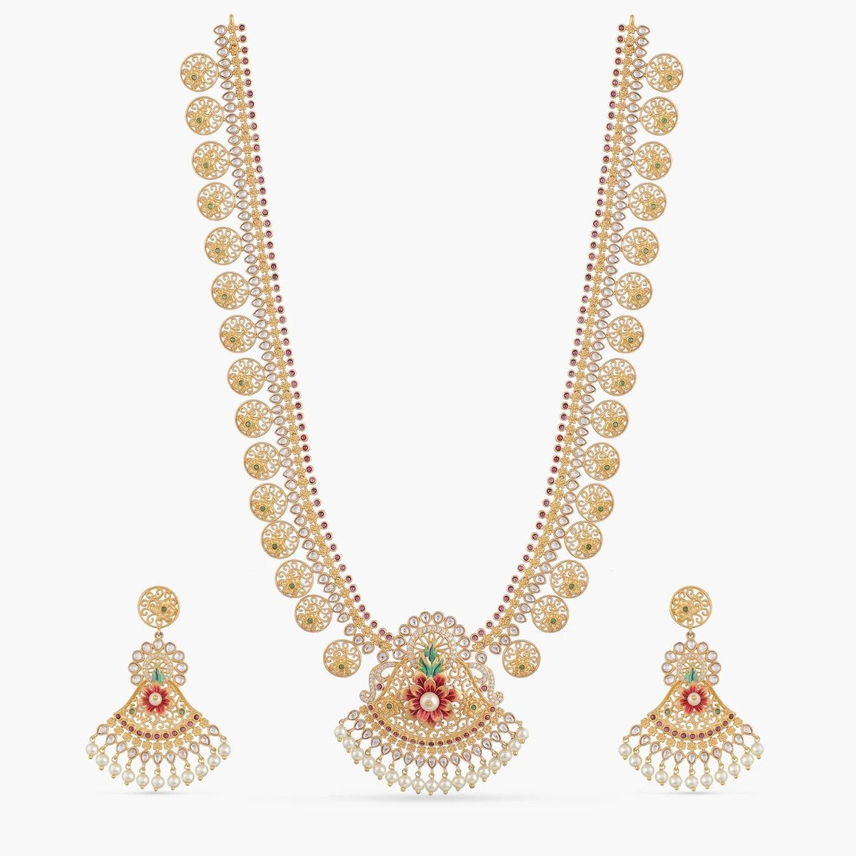Jiana Kundan Long Necklace Set