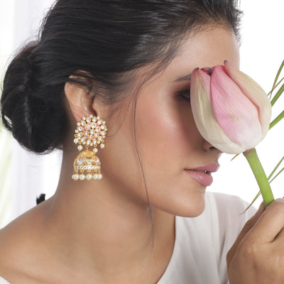 Baheera Kundan Jhumka Earrings