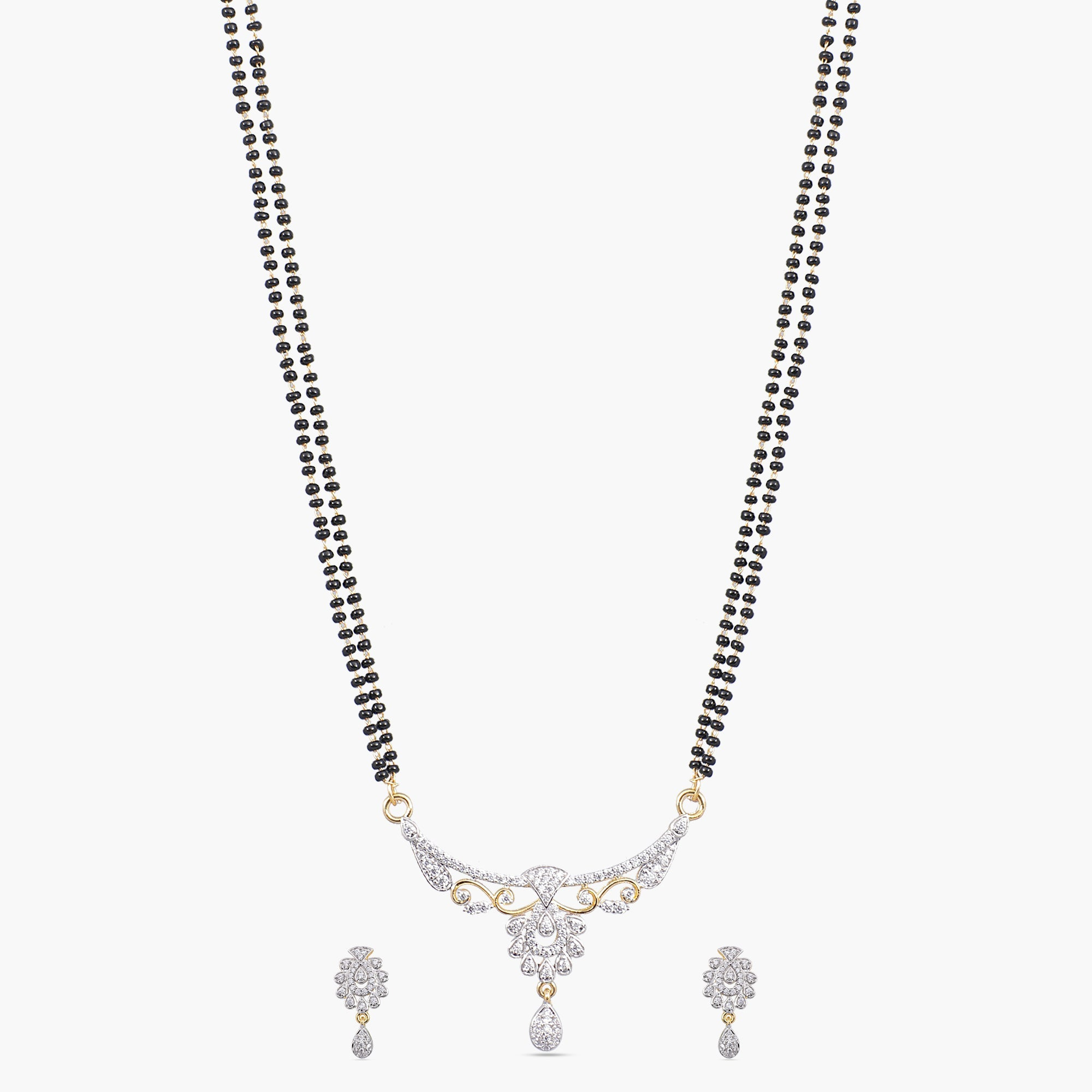 Risva Nakshatra CZ Black Beads Necklace Set