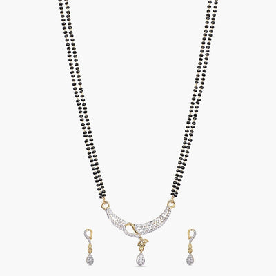 Priyam Nakshatra CZ Black Beads Necklace Set