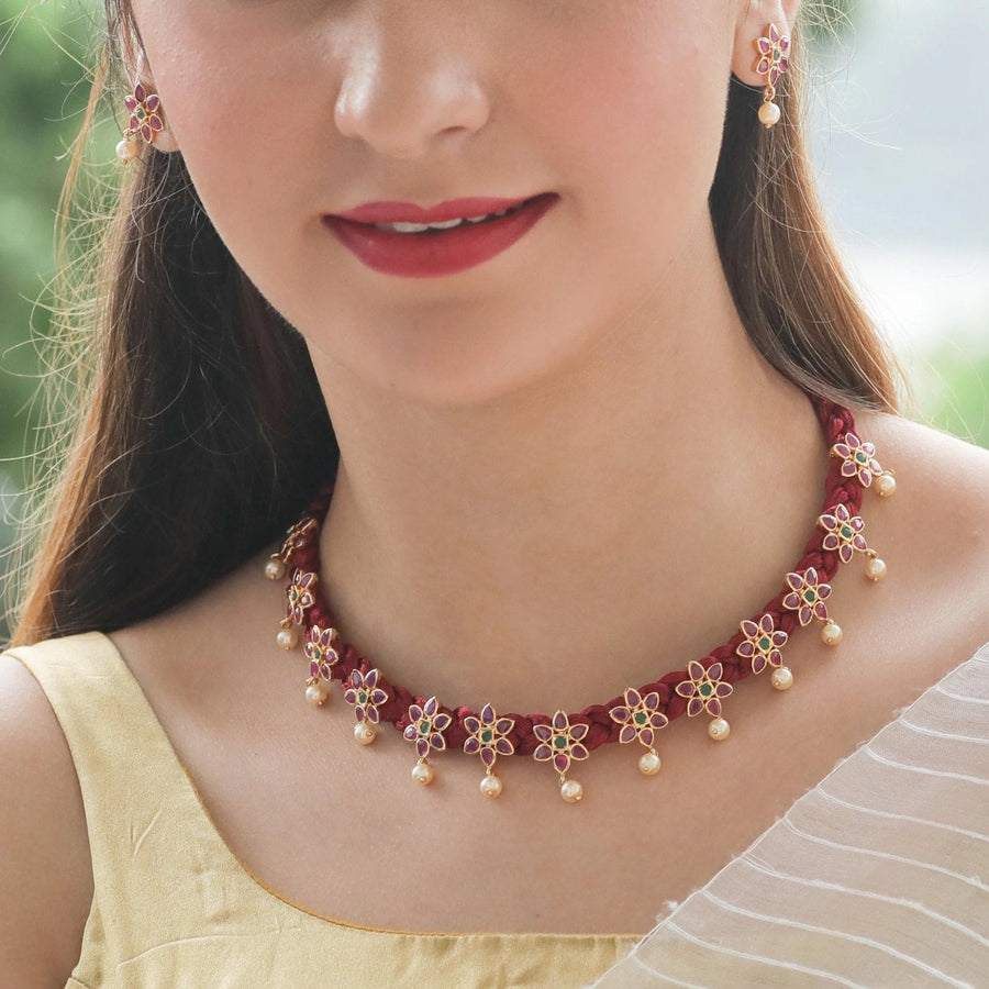 Aadya Nakshatra CZ Necklace Set by Tarinika