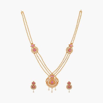 Agni Long Necklace Set by Tarinika