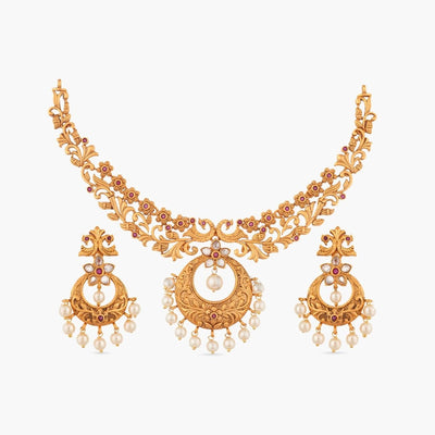 Chahel Antique Necklace Set by Tarinika