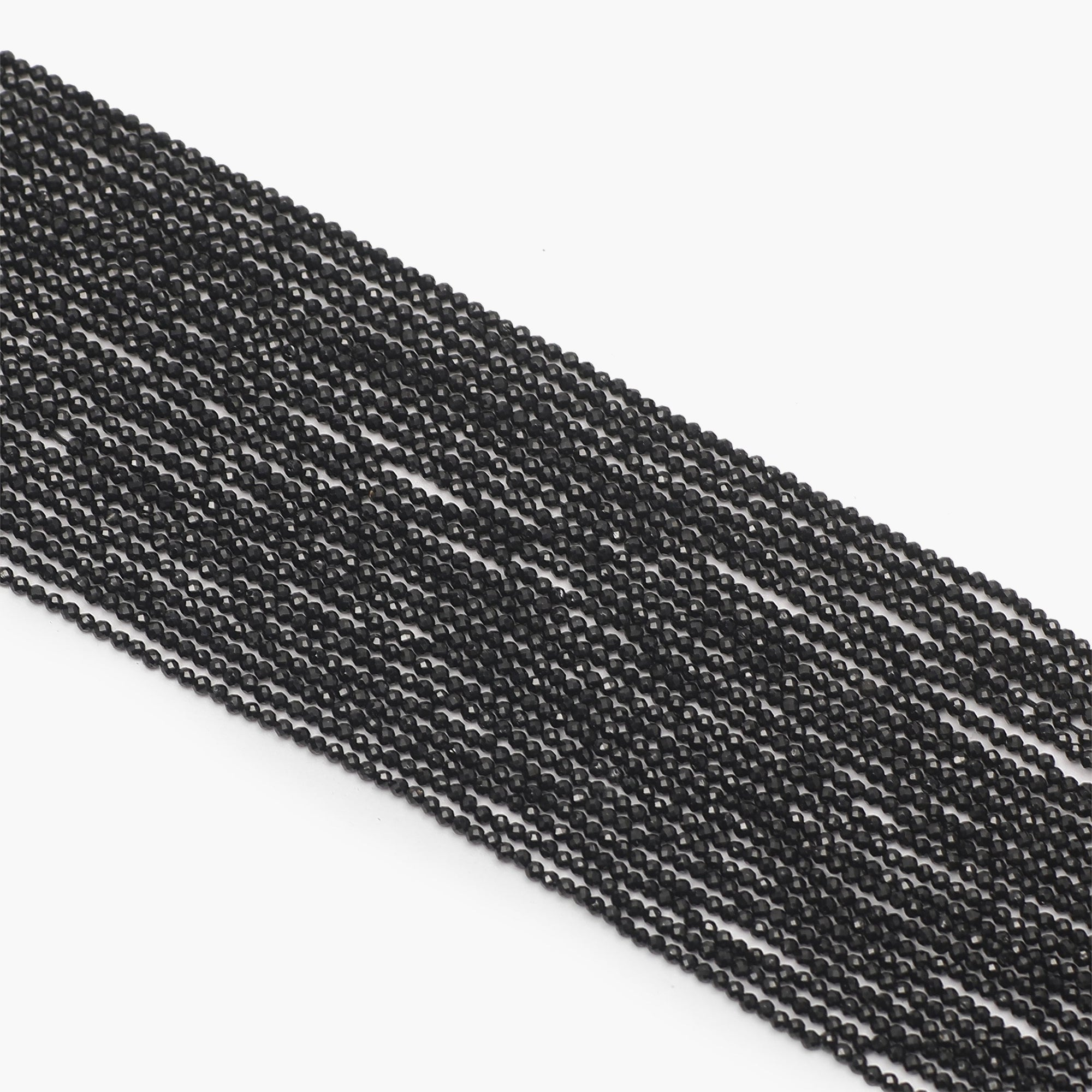 Black Spinal Diamond Cutting Beads- Sold Per Strand